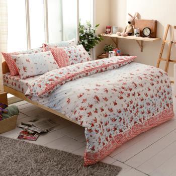 FOCA-秋思 加大 100%精梳棉四件式鋪棉兩用被床包組