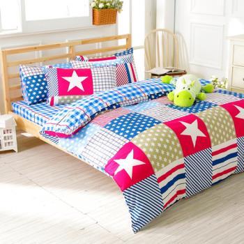 FOCA 快樂之旅 加大 100%精梳棉四件式鋪棉兩用被床包組