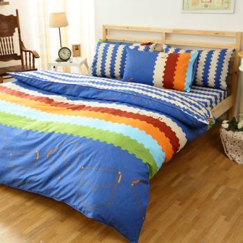 FOCA 牛仔很忙 加大 100%精梳棉四件式鋪棉兩用被床包組