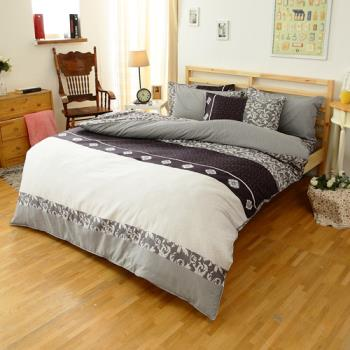 FOCA-經典貴族 加大 100%精梳棉四件式鋪棉兩用被床包組