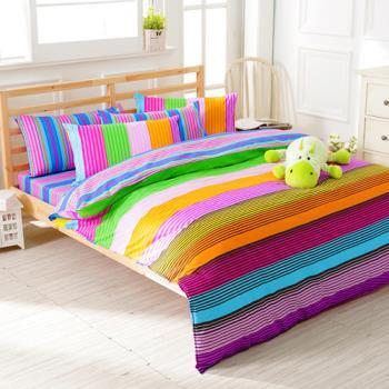 FOCA-繽紛假日 加大 100%精梳棉四件式鋪棉兩用被床包組
