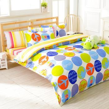 FOCA 簡約時光 加大 100%精梳棉四件式鋪棉兩用被床包組
