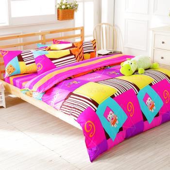 FOCA 純真年代 加大 100%精梳棉四件式鋪棉兩用被床包組