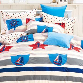 FOCA 航海時代 加大 100%精梳棉四件式鋪棉兩用被床包組