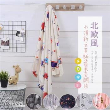 FOCA  多款任選  北歐風-小清新云芙絨透氣空調毯-韓國設計