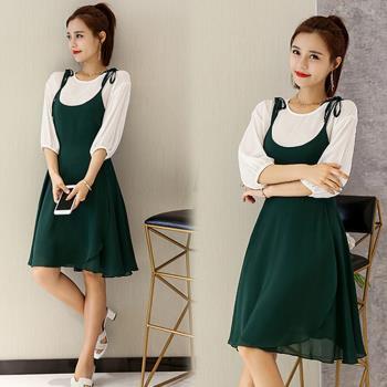 韓國K.W. 芙容月貌假兩件洋裝