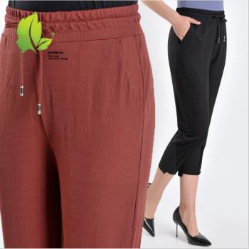 理子時尚 休閒高腰抽繩八分休閒褲 黑/豆綠/豆沙紅(XL-4XL)