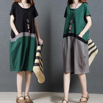 韓國K.W. 蕙質體態輕盈圓領短袖洋裝