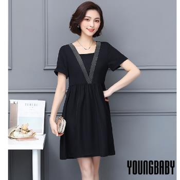 【YOUNGBABY中大碼】深V雙銀條假兩件式黑色洋裝