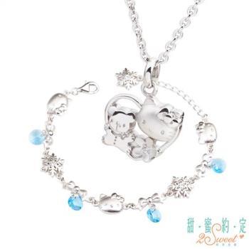 甜蜜約定 HelloKitty 愛是唯一純銀項鍊+雪國之戀純銀手鍊
