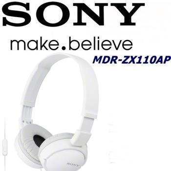 SONY MDR-ZX110AP 日本內銷版 獨家銷售 好音質 隨身便攜耳罩式智慧手機專用耳機 純真白