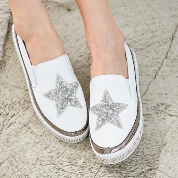 【88%】懶人鞋-跟高3.5CM 懶人鞋 厚底休閒鞋 閃亮亮片星星 鞋跟水鑽設計 時尚休閒百搭款