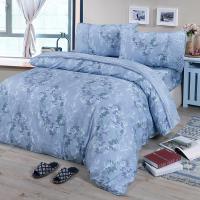 FITNESS  精梳棉加大四件式薄被套床包組-律彌爾(藍)