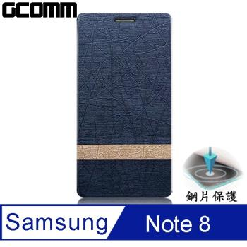 GCOMM Steel Shield 柳葉紋鋼片惻翻皮套 優雅藍 - Samsung Galaxy Note 8