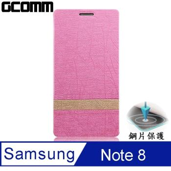 GCOMM Steel Shield 柳葉紋鋼片惻翻皮套 嫩粉紅 - Samsung Galaxy Note 8
