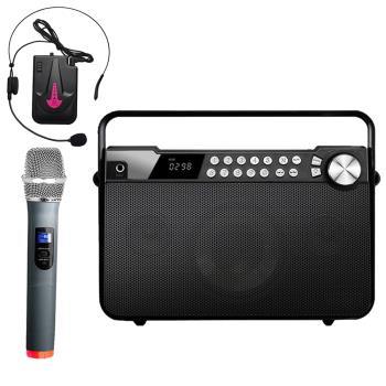 大聲公樂聲型無線式多功能手提行動音箱/喇叭(手持+耳麥組)