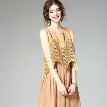 伊凡莎名媛時尚-法式簡约清雅假兩件洋裝