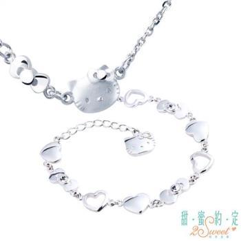 甜蜜約定 HelloKitty 幸運符純銀項鍊+勇敢愛純銀手鍊