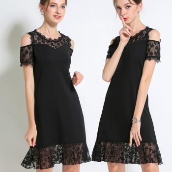 麗質達人 - 7993黑色蕾絲露肩洋裝
