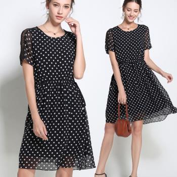 麗質達人 - 3049波點腰綁帶洋裝