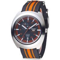 SEIKO 迷彩運動風5號24石自動機械錶(SSA287K1)-黑*橘紅