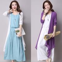 Moriya 休閒文藝兩件式背心裙+罩衫二色5碼