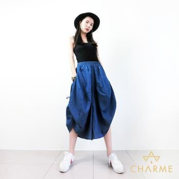 charme 側抽繩綁帶設計口袋燈籠褲裙(共兩色)