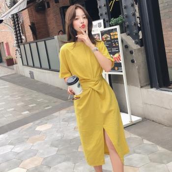 BubbleCoCo極簡修身開叉綁帶黃色洋裝(S-L)
