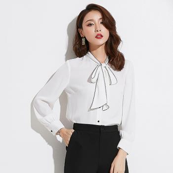 SZ-時尚秀氣包邊立領長袖雪紡襯衫S~XL