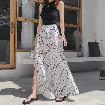 ALLK 鬆緊褲頭雪紡褲裙 共2色(尺寸M-L)