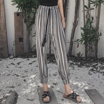 ALLK 鬆緊褲頭條紋雪紡燈籠褲 黑色(尺寸M-XL)