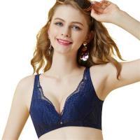 思薇爾 啵時尚系列B-E罩深V無鋼圈蕾絲包覆內衣(海藍色)