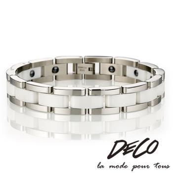 DECO X MASSA-G【經典印記】白色陶瓷白鋼手環