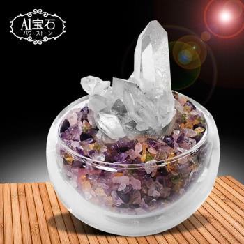招財轉運白水晶簇-五行水晶聚寶盆(含開光)-A1寶石