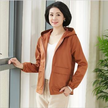 理子時尚-雅緻純色連帽夾克外套-L-4XL(共二色)