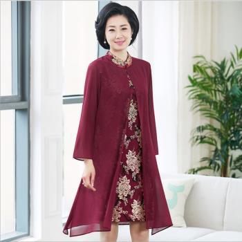 理子時尚-古風燙金印花假兩件洋裝-XL-5XL(共二色)