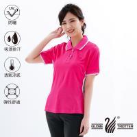 遊遍天下 台灣製女款顯瘦抗UV吸濕排汗機能POLO衫/玫紅