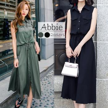 【Abbie】冰涼感翻領無袖長洋裝