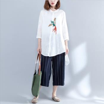 Keer-凰鳥刺繡前短後長襯衫-XL~2XL(共二色)