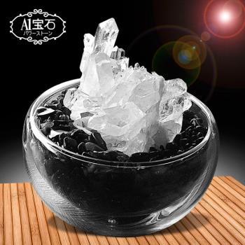 招財轉運白水晶簇-黑曜石聚寶盆(含開光)-A1寶石