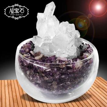 招財轉運白水晶簇-紫水晶聚寶盆(含開光)-A1寶石