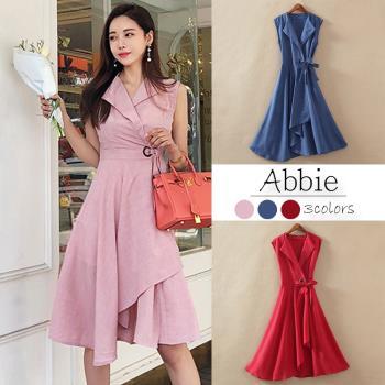 【Abbie】韓系無袖不規則洋裝