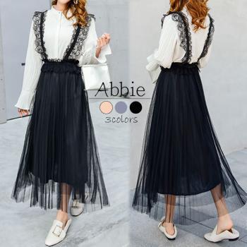 【Abbie】甜美蕾絲吊帶百摺網紗裙