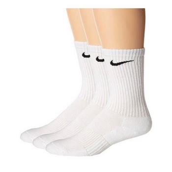 Nike 2018男舒適Dri Fit白色中統運動襪3入組