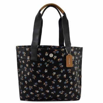 COACH 25903 限量可愛碎花布面肩背托特購物包.黑(大)