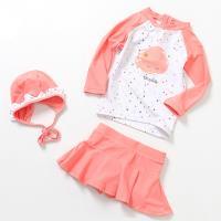 兒童泳裝 兒童泳衣公主裙式防曬三件套組
