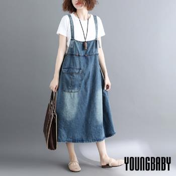 YOUNGBABY中大碼- 中排釦子腰綁帶大口袋牛仔吊帶裙