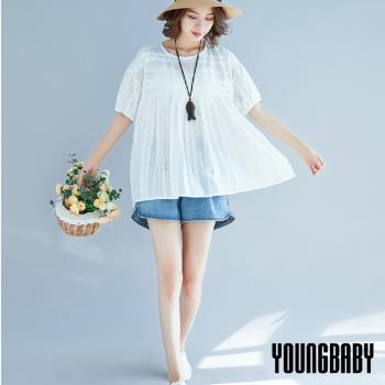 YOUNGBABY中大碼- 可愛圓領洞洞花紋娃娃衫上衣