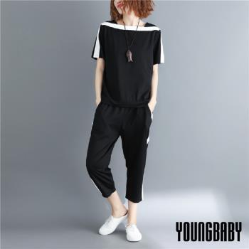 YOUNGBABY中大碼- 白色滾邊一字領上衣+七分褲兩件式運動休閒套裝