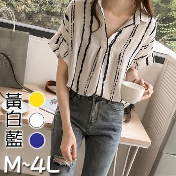 SCL隨性條紋寬鬆襯衫上衣 藍白黃 (M~4L)